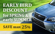 Early-bird Discount for Spring and early Summer!!